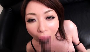 Nippon milf in lingerie drooling on rod