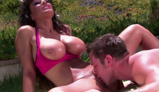 Perfect milf with huge boobs Lisa Ann gives oral-stimulation to yoga instructor