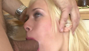 blonde deepthroat blowjob