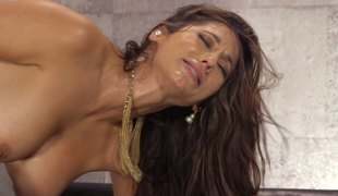 Experienced dark brown allows her partner to bang her in various poses