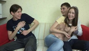 Cute little playgirl gets screwed while her boyfriend watches