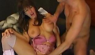 Brunette enjoys having fingers soak in her cunt after engulfing the cock dry