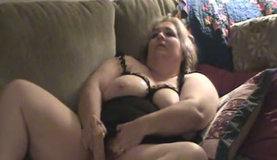 Such a good large breasted chubby blond whore was masturbating herself
