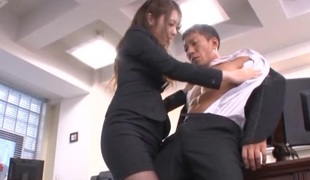 Gorgeous Asian secretary Ayu Sakurai pleases her attractive boss
