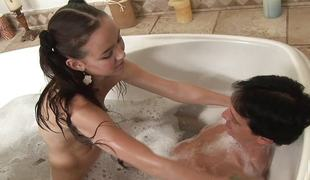 Amai Liu is wet and soapy