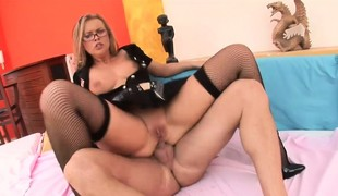 Perverted blonde secretary in dark lingerie Colette gives anal sex a try