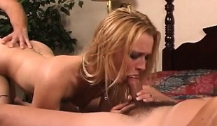 Bailey takes a penis in her face hole during the time that another drills her hairless cunt