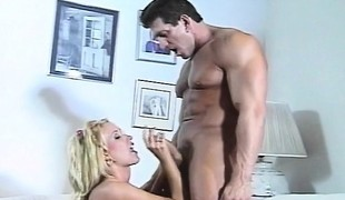 Luscious blond mommy with perfect large hooters gets nailed by a hung guy