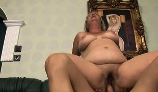 Fat mature blonde Kokai blows him and rides his pecker like a lewd slut