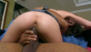Brunette hair Monica Sexxxton with round butt just feels intense sexual desire and fucks interracially like mad