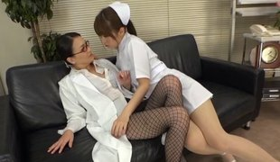Japanese nurse and female doctor have hawt lesbian sex