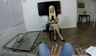 Petite golden-haired with natural tits is willing for the penetration!