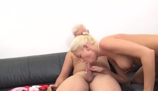 Fucking doggystyle with a cute and curvy blonde