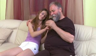 Obese old dude acquires his hands on a precious legal age teenager babe