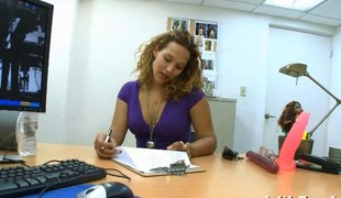 Big tits Latina in nature's garb in an office and screwed