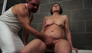 Horny mature granny got bonked in her bed by her step son