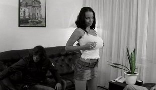 Breasty and curvy babe gets blowbanged and treated to facual cumshots