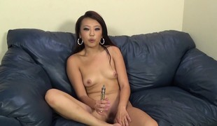 Asian nympho Miko Dai hangs on for a long pole and a wild drilling