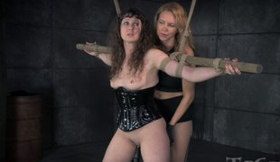 Mistress with a strap-on permeates the beaver of her serf
