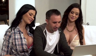 Brunette MILF Jasmine Jae shares horny man with some other doxy