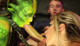 Glamorous green alien and a slut share cock on the spaceship