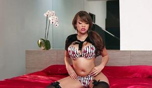 brunette store pupper lingerie strømper onani