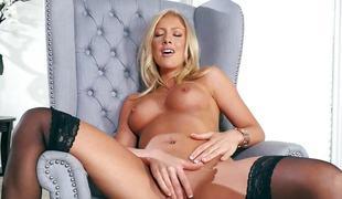 Kathrynn St Croixx slides her finger into her wet slot