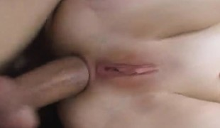 Luscious blond beauty indulges in coarse anal sex and acquires creampied