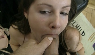 Salacious dark brown gal Paula A gives great blowjob