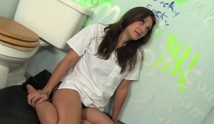 Teen pornstar Olivia Wilder gives doctor blowjob glory hole