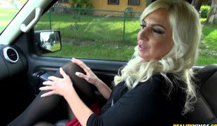 Driving home the blonde milf babe and fucking her hard