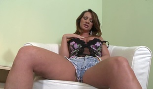 Pleasing pornstar in short inserting a toy in her anal before getting smashed hardcore