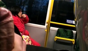 flashing on the bus during the time that the gal is watching it