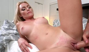 Top heavy blonde is opening up her pussy to get fucked hard