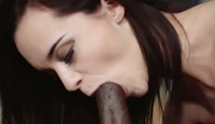 Dark haired small GF Lea Guerlin sucks BBC and then gets nailed tough