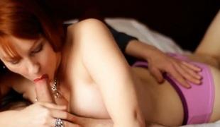 Beautiful redhead bitch greedily sucks delicious hard dick