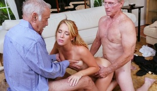 Stunning blonde bimbo Raylin Ann copulates three old farts