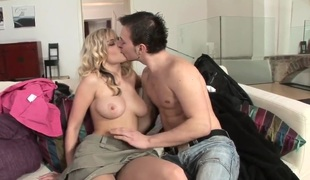 Busty blonde whore Marry Queen teases handsome stud