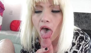 Blonde slobbers over this hard cock