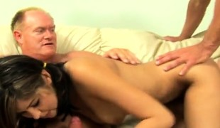 Petite brunette hair with pigtails Celina has sex with two horny old chaps