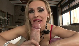 Rocco Siffredi gets his always hard tool eaten by Debbie White with giant hooters