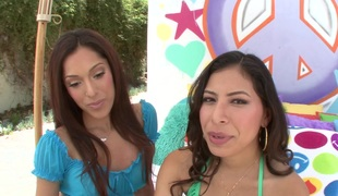 Nicole & Crystal lick assholes and receive them banged in FFM movie scene