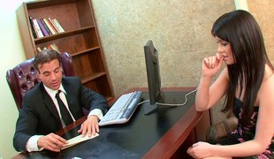 Sexy brunette hair gets fucked in the office at an interview
