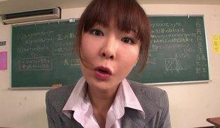 Japanese MILF teacher strips exposed and sucks a guy's schlong