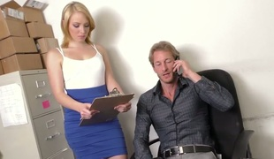 Hot blond secretary Trillium group-fucked well by her buddy