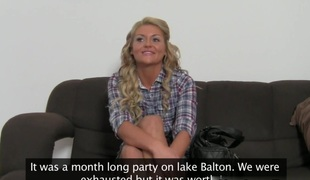 Delicious blonde Becky on her 1st porn casting