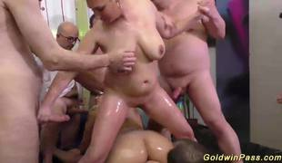 Slippery nuru group sex orgy