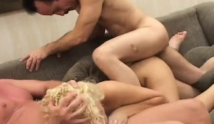 Stacked college girl Mia Banggs has 2 horny old men sharing her cunt