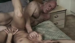 Busty brunette offers a mature guy her mouth and twat to fuck