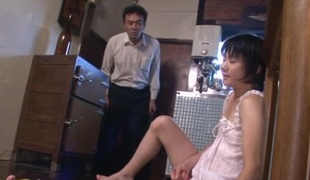 Sexy mom,  Aoba Itou, kneels to suck on a younger cock